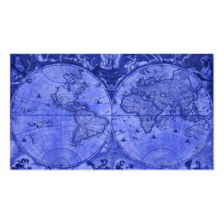 Blue Version Antique World Map J Blaeu 1664 Business Card Template