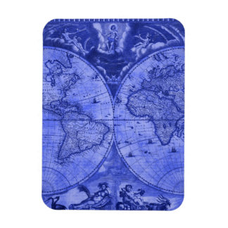 Blue Version Antique World Map J Blaeu 1664 Rectangular Magnets