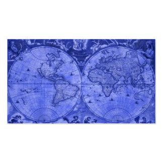 Blue Version Antique World Map J Blaeu 1664 Pack Of Standard Business Cards