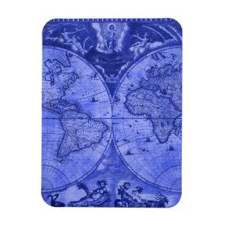 Blue Version Antique World Map J Blaeu 1664 Rectangular Magnets