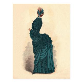 Blue Victorian Fashion Dress Postcard