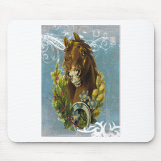 Blue Victorian Horse Shoe Floral Garland Mouse Pad