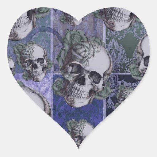 Blue victorian multi skull pattern. heart stickers