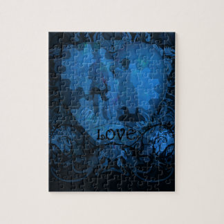 BLUE VICTORIAN STEAMPUNK LOVE COUPLE PUZZLE