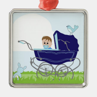 Blue vintage baby boy stroller christmas ornament