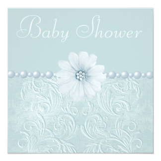 Blue Vintage Baby Shower Bling Flowers & Pearls 13 Cm X 13 Cm Square Invitation Card