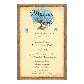 Blue Vintage Bird Heart Leaf Tree Wedding Menu Personalised Stationery