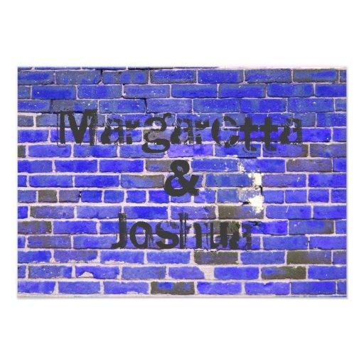 Blue Vintage Brick Wall Wedding Invitation RSVP