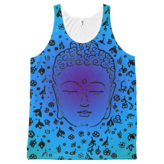 Blue Vintage Buddha Goddess Head Tank Top Women