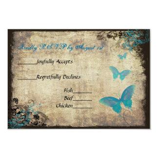 Blue Vintage Butterfly Wedding RSVP Card 9 Cm X 13 Cm Invitation Card