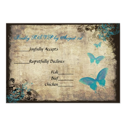 Blue Vintage Butterfly Wedding RSVP Card Custom Invitations