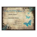 Blue Vintage Butterfly Wedding RSVP Card Custom Invitations