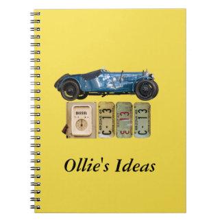 Blue Vintage Car Spiral Note Books