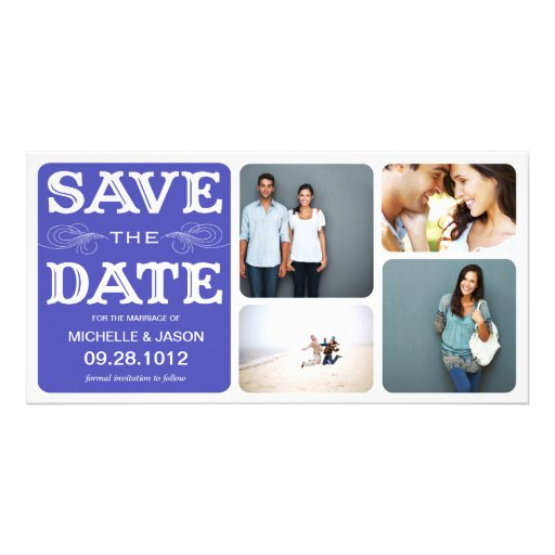 BLUE VINTAGE COLLAGE | SAVE THE DATE ANNOUNCEMENT CUSTOM PHOTO CARD