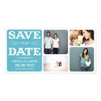 BLUE VINTAGE COLLAGE | SAVE THE DATE ANNOUNCEMENT PICTURE CARD