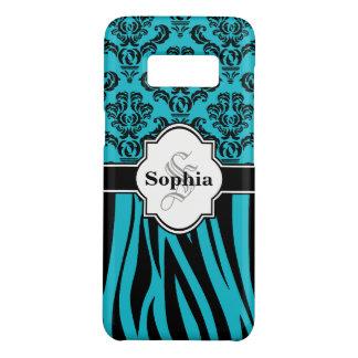 Blue Vintage Damask Cool Zebra Stripes Case-Mate Samsung Galaxy S8 Case