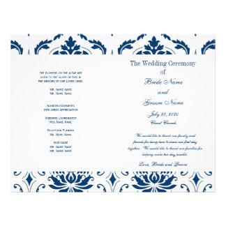 Blue Vintage Damask Wedding Program Flyers
