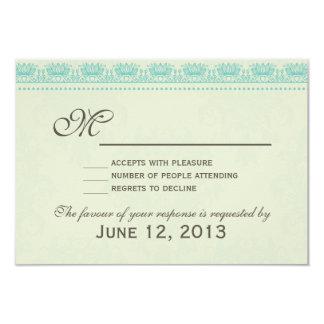 Blue Vintage Damask Wedding RSVP Card