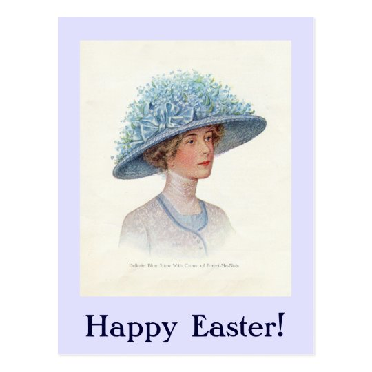 Blue Vintage Easter Bonnet Postcard