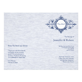 Blue Vintage Elegance Wedding Program Flyer Design