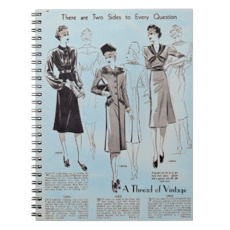 Blue vintage fashion print notebook