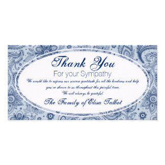 Blue Vintage Floral Pattern 2 Sympathy Thank You P Personalised Photo Card