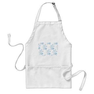 Blue Vintage Floral Pattern Design Adult Apron