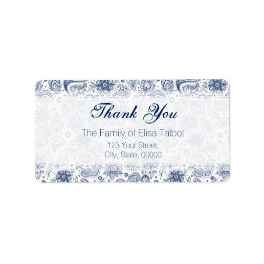 Blue Vintage Floral Pattern Family Thank You Label Address Label
