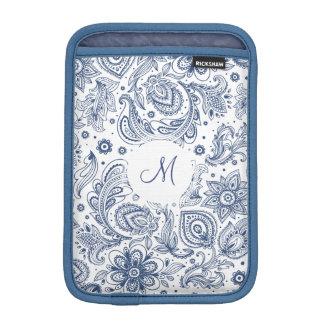 Blue Vintage Floral Pattern Monogram iPad Sleeve