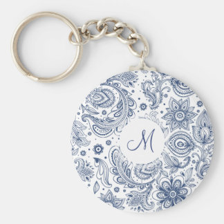 Blue Vintage Floral Pattern Monogram Keychain