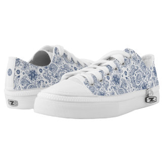 Blue Vintage Floral Pattern Monogram LowT Shoes Printed Shoes
