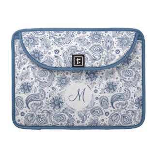 Blue Vintage Floral Pattern Monogram Mac Sleeve