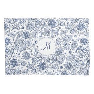 Blue Vintage Floral Pattern Monogram Pillow Case