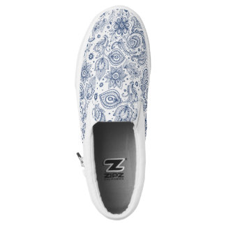 Blue Vintage Floral Pattern Monogram Slip Shoes Printed Shoes