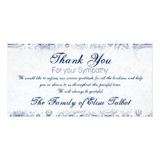 Blue Vintage Floral Pattern Sympathy Thank You P Picture Card