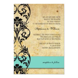 Blue Vintage Floral Swirl Wedding Invitation