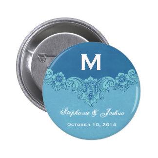 Blue Vintage Frame Custom Monogram Wedding 6 Cm Round Badge