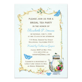 Blue Vintage French Bridal Tea Party 13 Cm X 18 Cm Invitation Card