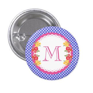 Blue vintage gingham flower monogram 3 cm round badge