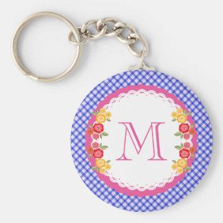 Blue vintage gingham flower monogram basic round button key ring