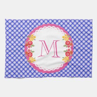 Blue vintage gingham flower monogram tea towels