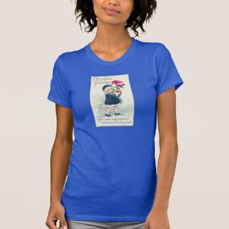 Blue Vintage Girl Victorian Christmas Shirt