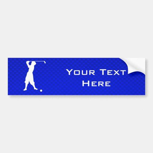 Blue Vintage Golfer Bumper Stickers