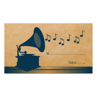 Blue Vintage Gramophone Place Card Business Cards