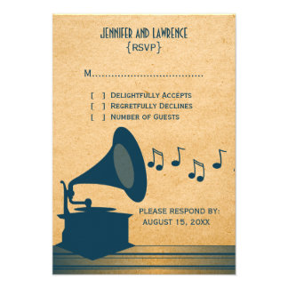 Blue Vintage Gramophone Response Card Custom Invites
