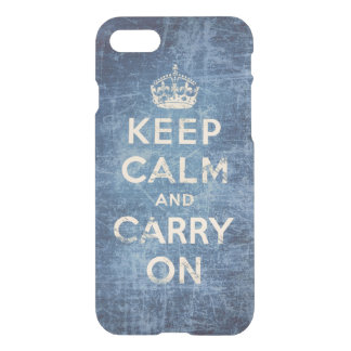 Blue vintage keep calm and carry on iPhone 7 case