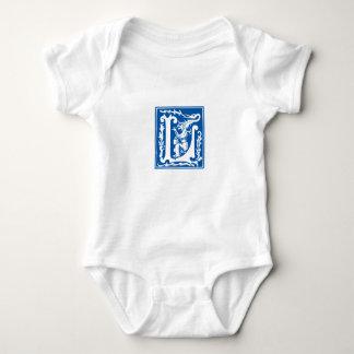 Blue vintage L letter - customise name of baby boy Baby Bodysuit