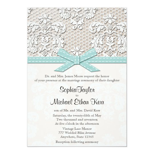 Blue Vintage Lace and Pearls Glamour Wedding Card