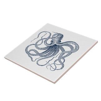 Blue Vintage Nautical Octopus Tile