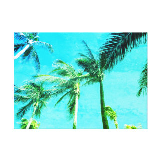 Blue Vintage Palm Trees Canvas Print